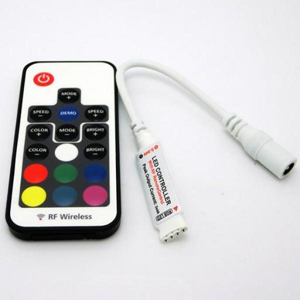 RGB Контроллер с радиопультом Micro + RF пульт 17кн 3канала x 2A (5-24v)