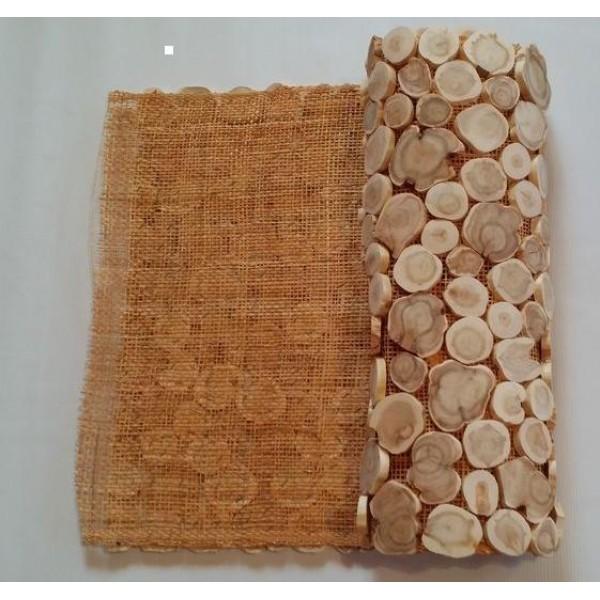 Панно из можжевельника без коры на джутовом полотне, 1000х500